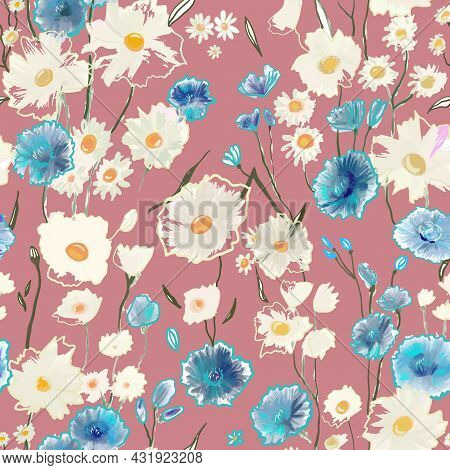 Cute Pattern With Small Blue And White Flowers On Light Pink. Liberty Style. Drawn Floral Seamless M