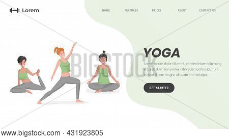 Yoga Studio Or Online Pilates Landing Page Template With Text Space. Happy Smiling Women Stretching