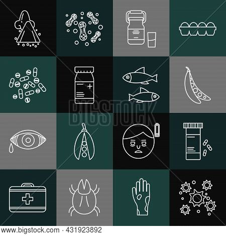 Set Line Bacteria, Medicine Bottle And Pills, Kidney Beans, Can Container For Milk, Tablet, Runny No