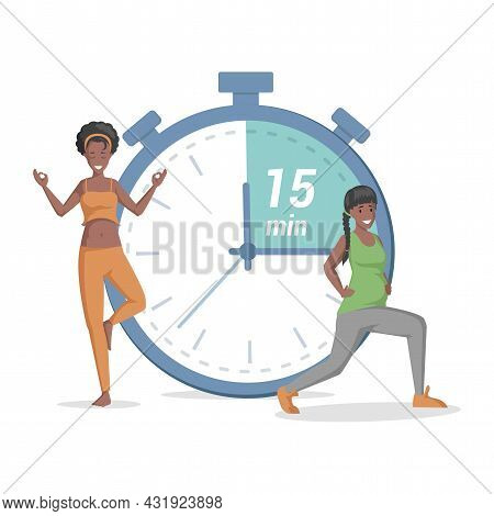 Happy Women Doing Yoga On The Background Of Timer Vector Flat Illustration. Girl And Pregnant Woman