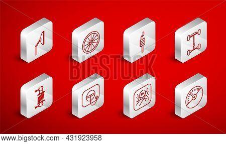 Set Line Speedometer, Car Wheel, Muffler, Chassis Car, Gear Shifter, Windscreen Wiper, Oil Filler Ca