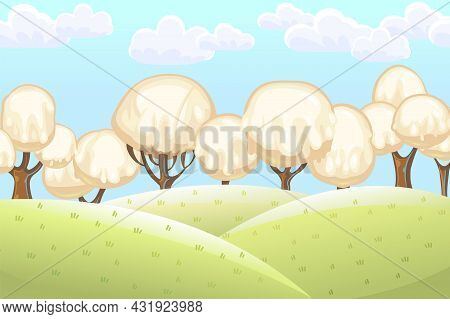 Fabulous Sweet Forest. Ice Cream, Drips Of White Milk Cream. Clouds. Trees With Chocolate Trunks. Cu