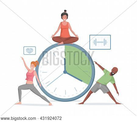 Smiling Man And Women Doing Sport Exercises And Yoga On The Background Of Timer Vector Flat Illustra