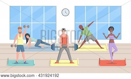 Smiling Men And Women In Sports Clothes Doing Workout In Fitness Studio Vector Flat Illustration. Pe