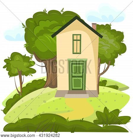 Cartoon House In The Meadow. Hills. Cozy Rustic Dwelling In A Traditional European Style. Rural Land
