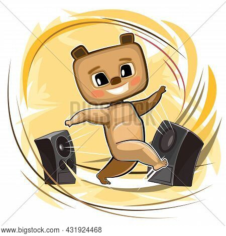 Happy Cute Teddy Bear Dancing. Loud Music From Speakers. Dance Of A Funny Animal Child. Cartoon Styl