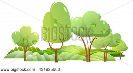 Garden And Rolling Hills. Rural Landscape With Lemon Trees And Farmer Hills. Cute Funny Cartoon Desi