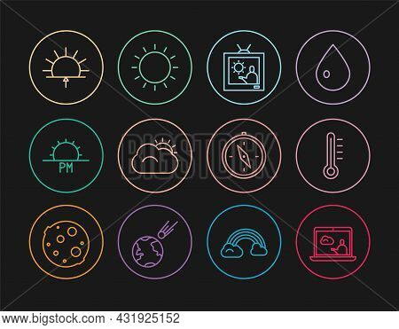 Set Line Weather Forecast, Meteorology Thermometer, Sun And Cloud, Sunset, Sunrise, Compass And Icon