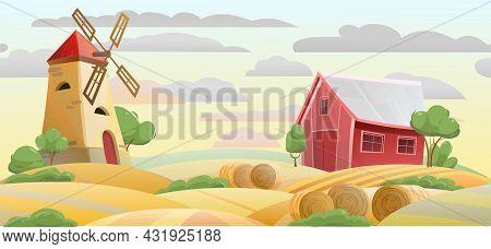 Farmland. Garden And Rolling Hills. Rural Farm Landscape With Windmill And Barn. Evening Sky. Cute F