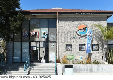 SAN PEDRO, CALIFORNIA - 27 AUG 2021: Marine Mammal Care Center on Gaffey Street, a non-profit hospital for seals and sea lions that strand on Los Angeles Beaches.