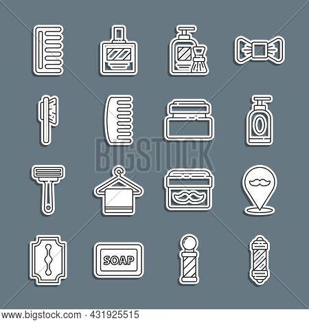 Set Line Classic Barber Shop Pole, Barbershop, Cream Or Lotion Cosmetic Tube, Shaving Gel Foam And B