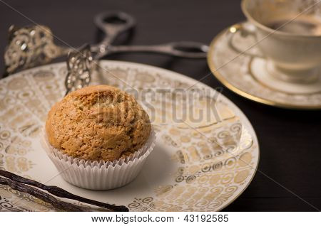 Vegan Muffin On Antique Plate.