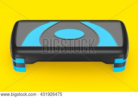 Stepper For Fitness And Blue Step Platform For Aerobics Isolated On Yellow Background. 3d Rendering