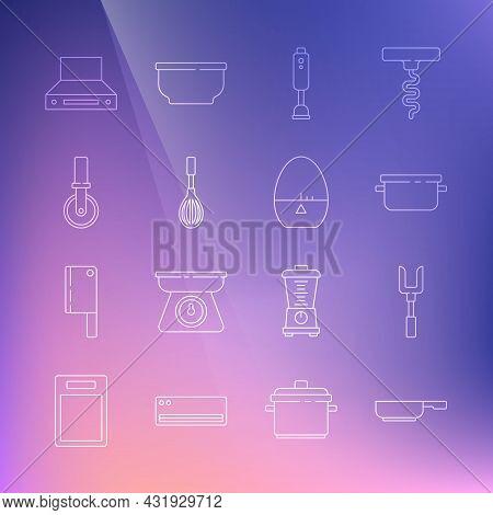 Set Line Frying Pan, Barbecue Fork, Cooking Pot, Blender, Kitchen Whisk, Pizza Knife, Extractor Fan