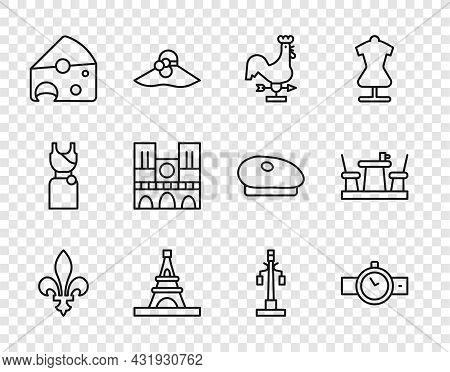 Set Line Fleur De Lys, Wrist Watch, Rooster Weather Vane, Eiffel Tower, Cheese, Notre Dame, Street L
