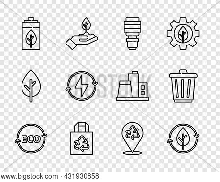 Set Line Label For Eco Healthy Food, Recycle And Leaf, Led Light Bulb, Paper Bag With Recycle, Eco N