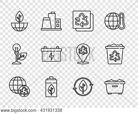 Set Line Planet Earth And Recycling, Trash Can, Recycle, Eco Nature Leaf Battery, Earth Globe Plant,