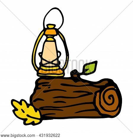 Vector Log With A Lamp In A Flat Style. A Hand-painted Piece Of Brown Wood With An Orange Oak Leaf A
