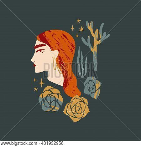 Cacti Desert Goddess Design. Boho Gypsy Modern Minimal Wall Art Print, Trendy Flat Style. Leaflet, P
