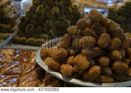 A Variety Of Oriental Sweet Pastries In A Market Place In Israel.