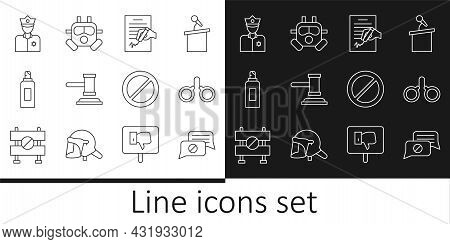 Set Line Speech Bubble Chat, Handcuffs, Petition, Judge Gavel, Paint Spray Can, Police Officer, Ban