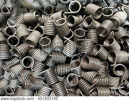 Batch Of Torsion Springs Viewed From Above, Spring Texture, Mass Production,