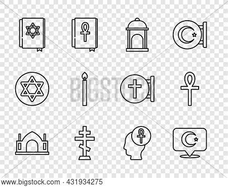 Set Line Hindu Spiritual Temple, Star And Crescent, Muslim Mosque, Christian Cross, Jewish Torah Boo
