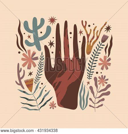 Vector Green Witch Magic Design, Floral Elements Set. Hand Drawn Doodle Sketch Magicial Botanicals C