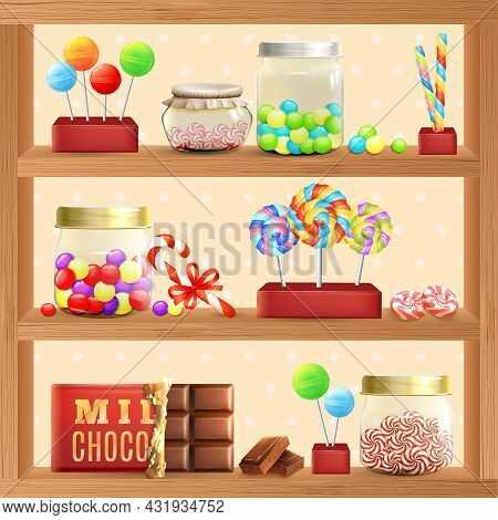 Sweet Store Shelf With Bonbons Chocolate And Lollipops Vector Illustration