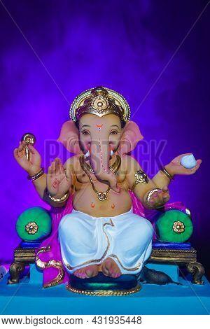 Lord Ganesha, Ganesh Festival, With Blue Smoke Background