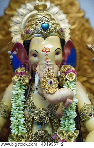 Ganesha Festival, Close Up Look Of Lord Ganesha Statue With Jewellery