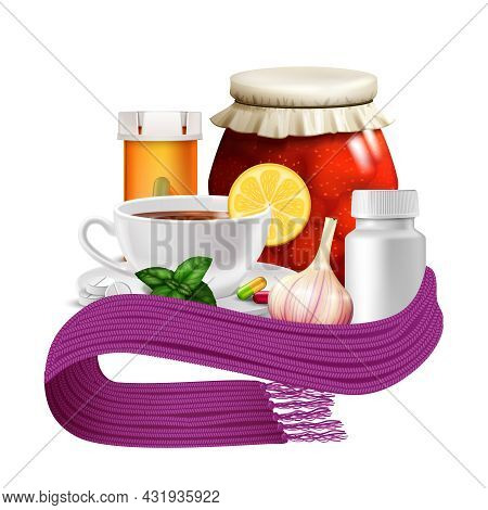 Anti-virus Remedies Set With Realistic Tea Cup Lemon Warm Scarf And Pills Vector Illustration