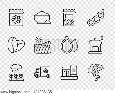 Set Line Plant Sprouts Grow In The Rain, Seed, Pack Full Of Seeds Of Plant, Flour Truck, Agriculture