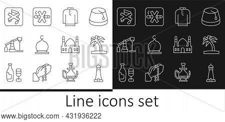 Set Line Mosque Tower Or Minaret, Tropical Palm Tree, Shirt Kurta, Muslim, Oil Pump Pump Jack, Speak