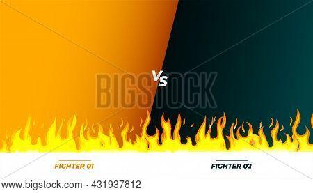 Versus Vs Fight Match Banner With Flames Vector Design Illustration