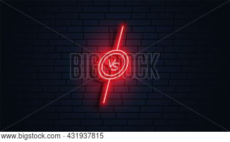 Neon Style Versus Vs Banner Vector Design Illustration
