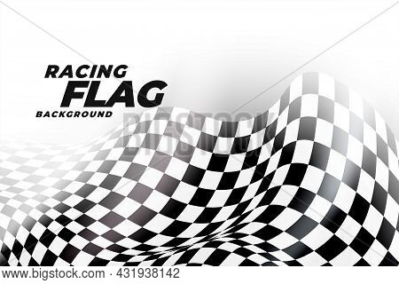 Racing Flag Background In Black And White Checkers Vector Design Illustration