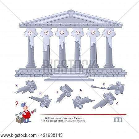 Logic Puzzle Game For Children And Adults. Help The Worker Restore Old Temple. Find The Correct Plac