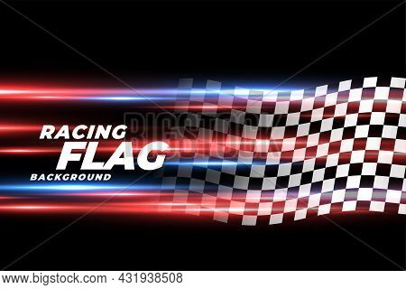 Speed Lights With Checkered Racing Flag Background Vector Design Illustration