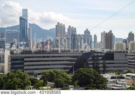 Education Bureau Kowloon Tong Education Services Centre, Hong Kong - Aug 21, 2021: A Five-storey Bui