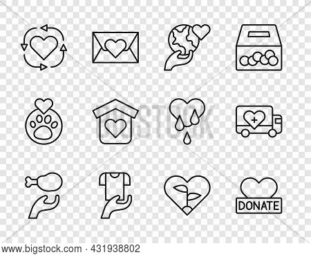 Set Line Donation Food, And Charity, Hand Holding Earth Globe, Clothes Donation, Volunteer, Shelter