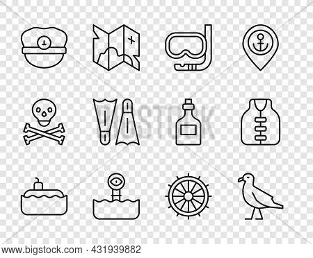 Set Line Submarine, Bird Seagull, Diving Mask And Snorkel, Periscope, Captain Hat, Flippers For Swim