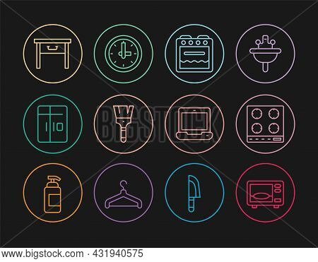 Set Line Microwave Oven, Gas Stove, Oven, Paint Brush, Refrigerator, Furniture Nightstand, Laptop An