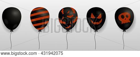 Set Of Black Balloons With Different Design Isolated On White Background