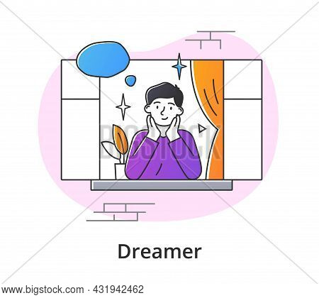 Young Male Character Is Contemplating From Window. Concept Of Smiling Thoughtful Young Men And Women