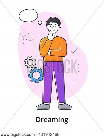 Young Male Character Dreaming On White Background. Concept Of Smiling Thoughtful Young Men And Women