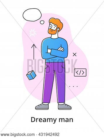 Bearded Male Character Dreaming On White Background. Concept Of Smiling Thoughtful Young Men And Wom