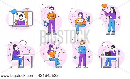 Set Of Dreaming Male And Female Characters On White Background. Smiling Thoughtful Young Men And Wom