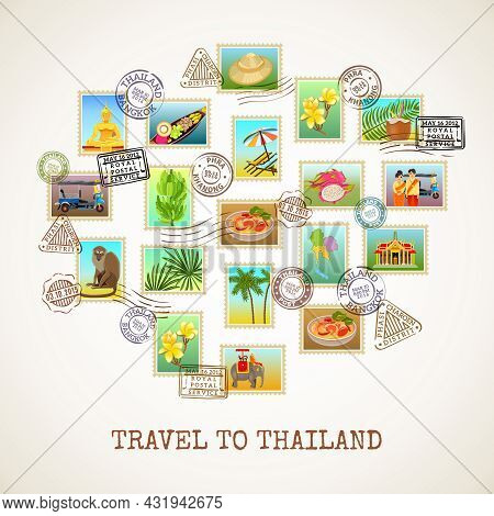 Thailand Poster With Images Of Postal Stamps With Sights Flora And Fauna Of The Country Vector Illus