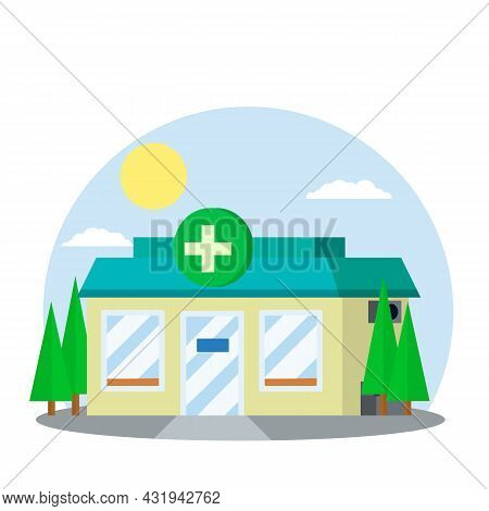 Pharmacy Building. Symbol Green Cross On Sign. Medicine And Pharmacology. Treatment Of People With P